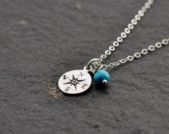 Compass Necklace, Compass Charm necklace with Birthstone, Birthstone Necklace, Sterling Silver Birthstone Necklace,