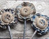 Primitive Flowers Antique Blue Coverlet Bouquet