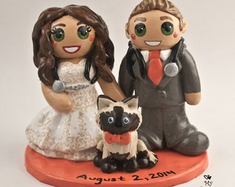 Bride and Groom with a Pet Wedding Cake Topper