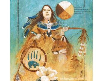 Shamanism Native American Indian Shaman Totem Art Portrait - by Brandy Woods