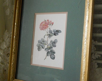 Vintage Framed Redoute Pink Roses Vintage Frame Glass DoubleMatted Professionally Backed Home Decor Wall Hanging Framed Pink Rose Print
