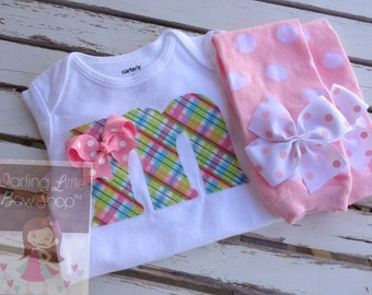 Baby Girl Outfit -- Leg warmers and Initial bodysuit -- pretty pastels hand cut initial applique