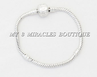 Charm Bracelet Silver Tone Snake Chain European Style Teens Empty Starter Plain Love Stamped Snap Clasp DIY Christmas Gift Ideas