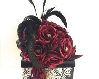 Red Roses Wedding Card Holder, Wedding Card Box, Custom Card Box, Handmade, Gift Card Boxes,  Wedding Gift Box