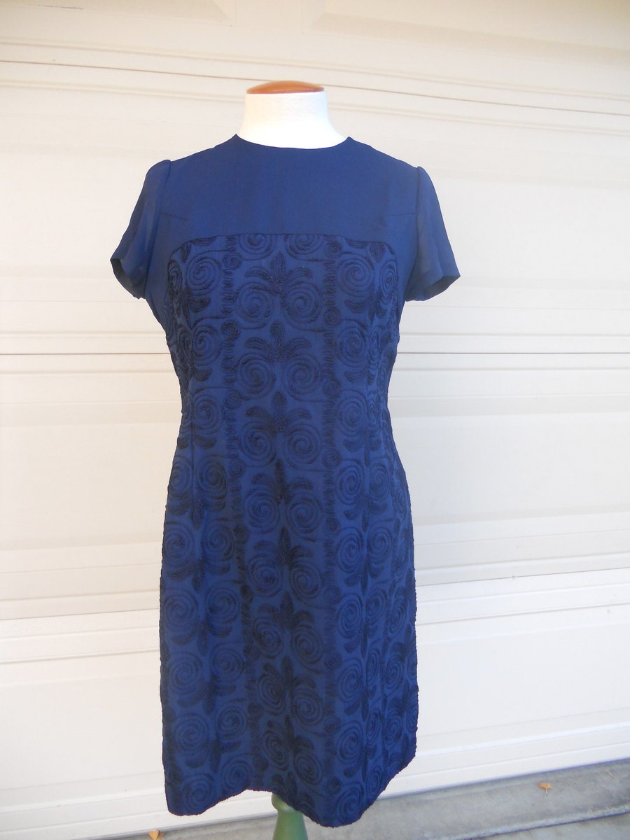 Vintage navy blue embroidered dress s mad men and