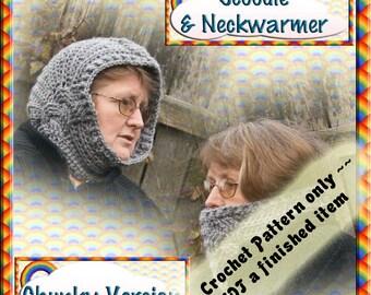 PDF Crochet Pattern Cabled Chunky Neckwarmer & Hood