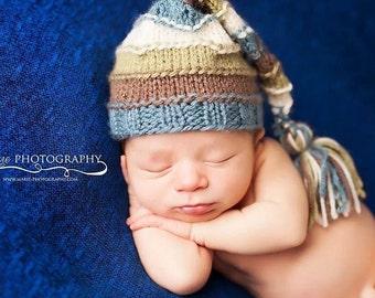 newborn knit tassel hat, baby tassel hat, newborn tassel hat