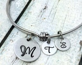 Personalized Jewely - Personalized Bangle Bracelet - Mother's Bracelet - Hand Stamped Jewelry - Expandable Bracelet - Initial Bracelet