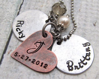 Personalized Jewelry - Personalized Wedding Necklace - Hand Stamped Jewelry - Couples Necklace Personalized Necklace Anniversary Gift (100)