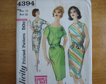 Vintage Simplicity Pattern 4394 Misses' One-Piece Dress   circa early 1960's   Uncut