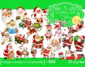 Digital Clipart, instant downloads, Vintage Santa Claus Images St Nick, Father Christmas, reindeer and sleigh, Santa reading--PNG Files 1888