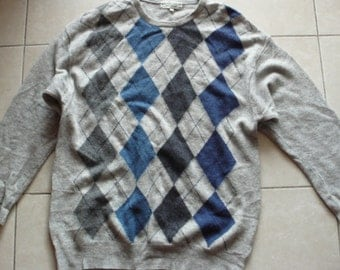 Men's argyll lambswool sweater greys blues M Country Trader