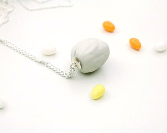 Ready to ship - porcelain Fake Walnut necklace