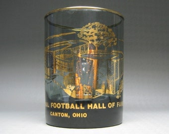Pro Football Hall Of Fame glass Canton Ohio gold on smoke glass 1963 ?