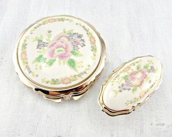 Vintage Powder Compact & Lipstick Holder Set, JAPANESE Porcelain, Flower Floral Gold Compact Mirror, Purse Compact, 1960s Purse Accesory