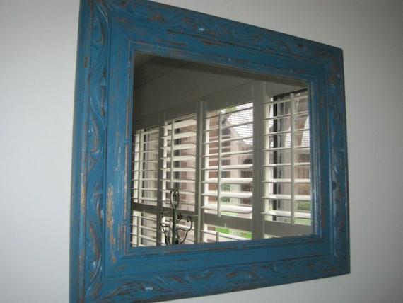 Primitive rustic carved wood framed mirror by spinyourdream for Teal framed mirror