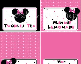 NEW - SET OF 12, Minnie Mouse Food Tent Cards, Place Cards