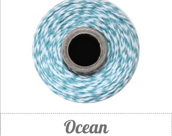 100% Cotton Twine Ocean Bakers Twine The Twinery 240 Yard Spool Ocean Blue and White Striped Twine