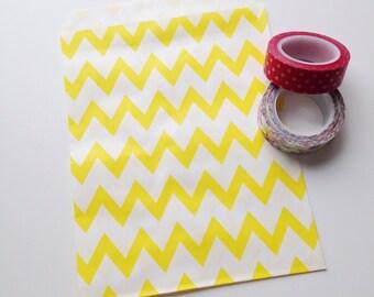"SALE Yellow Chevron Treat Bag 5"" x 7"" Kraft Paper Food Safe Recyclable Favor Bags Sunny Yellow Chevron"