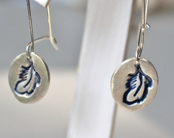 Feather PMC and Resin Earrings