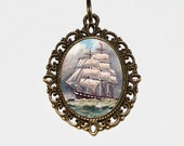Ship Necklace, Sailing Jewelry, Ocean, Sea, Nautical Jewelry, Boat Necklace, Oval Pendant