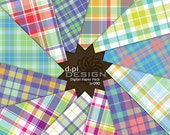 Summer Plaid Digital Paper & Printable Background Sheets - Colorful Digital Plaid for Scrapbooks, Cards, Crafts - Instant Download (DP090)