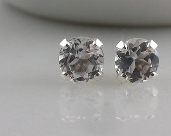 Sterling Silver White Topaz Gemstone Stud Earrings - 5mm White Topaz Studs