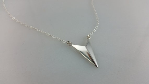 Sterling Silver Chevron Spike Necklace
