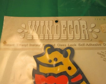 Vintage 1967 WINDECOR instant Tiffany Stained Glass look self-adhesive kitschy frog Design hand painted kitschy mod decal