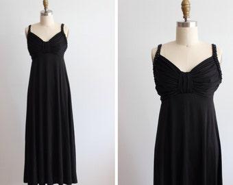 1970s Black Studded Maxi Dress