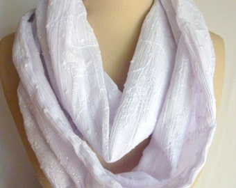 White Embroidered Infinity Circle Scarf.  Perfect accessory for cool seasons...