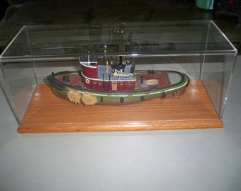 Vintage Collectible Model of a Tug Boat With Display Case