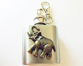 Flask,  Mini Key Chain Flask With Bronze Elephant Stainless Steel 1 Ounce Mens Womens Gift Handmade