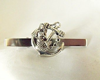 Tie Bar Tie Clip,  Mermaid on Anchor Silver Mens Accessories  Handmade