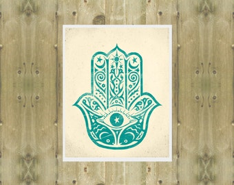 HAMSA Hand Art Print, Modern Home Decor, Yoga Studio Decor, ZEN Design, Antique Style, Amulet Sign, Modern Poster, Teal, Beige, Customizable