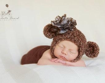 Soft & Chunky Bear Bonnet, Newborn Photography Prop
