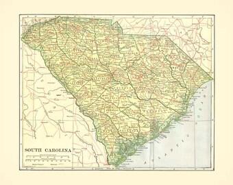 Antique SOUTH CAROLINA MAP 1906 Instant Digital Download