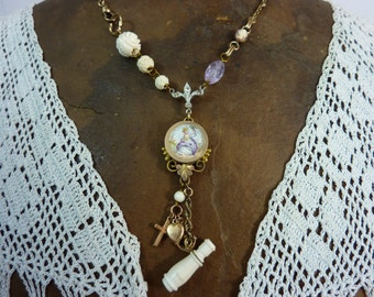 PAINTED LADY  Victorian watch chain antique assemblage necklace so vintage