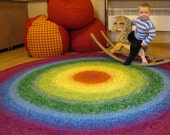 Beautiful Rainbow Rug, MADE TO ORDER, 60 to 80 inches in diameter
