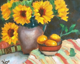 Original oil painting: Still Life with Sunflowers, Books, Bowl of Lemons