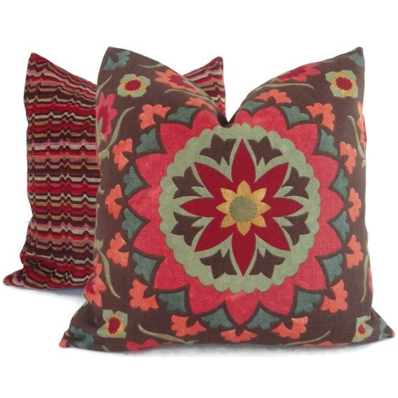 Items similar to SALE Jewel tone Suzani Decorative Pillow Cover Lumbar Pillow, Accent pillow ...