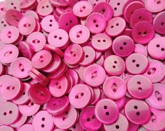"""Pearlized Buttons 5/8"""" Plastic 2 Hole Flat Back Berry Ruby 100 grams"""
