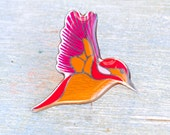 Colorful Little Bird Brooch - Pink and Orange Lapel Pin