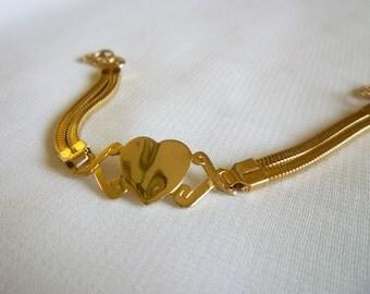 Heart Bracelet, Sweetheart Bracelet Signed Hong Kong, Vintage Heart Jewelry