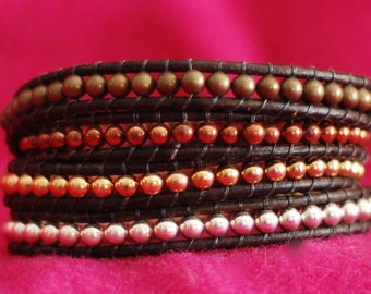 Metal Beaded Wrap Bracelet - Metal Beads Bracelet - Metal Leather Wrap - Multimetal Bracelet (B324)