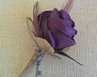 Rustic Boutonniere, Wedding Boutonniere, Plum Purple Boutonniere,  Fabric Boutonniere,Burlap Boutonniere,YOUR CHOICE COLOR, Lapel Flower