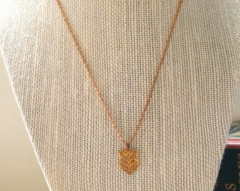 Vintage Double Heart Charm Necklace, Delicate Necklace, Layer Necklace, Simple, Minimalist, Love