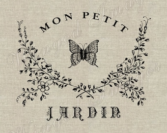 Mon Petit Jardin. Instant Download Digital Image No.306 Iron-On Transfer to Fabric (burlap, linen) Paper Prints (cards, tags)