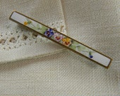 Hand Painted Edwardian Floral Enamel Bar Pin with Pansies