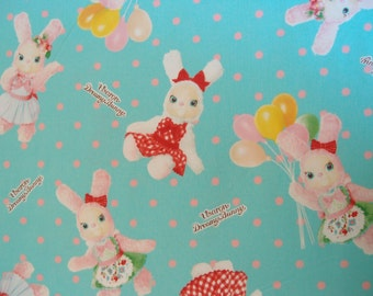 SALE Urason Dreamy Bunny Kawaii Fabric in Mint Green with Pink Dots by Kokka (Half Yard)